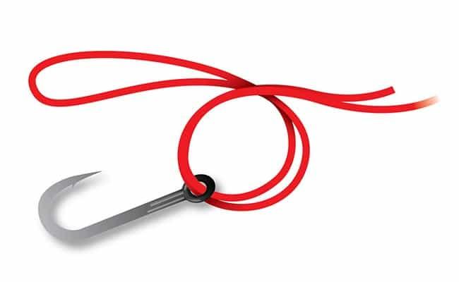Как привязать крючок узлом паломар