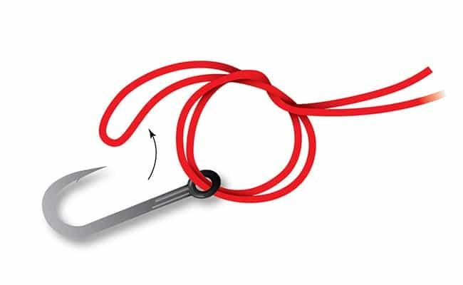 Оборот сдвоенной лески внутри кольца с петлей вокруг приманки или крючка - это весь узел Palomar