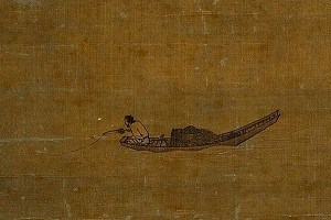 рыболов в лодке с китайской рыболовной катушкой