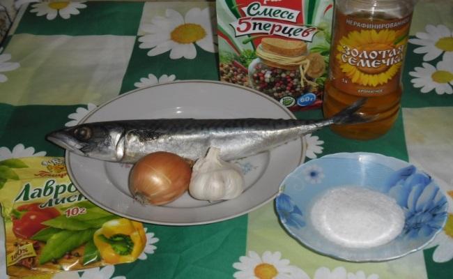 ингредиенты для рецепта малосольной скумбрии